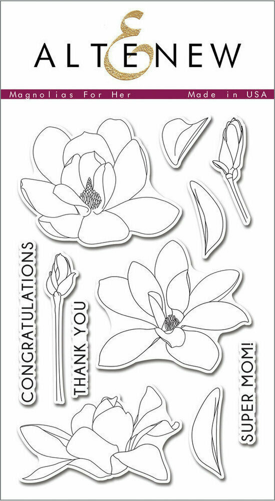 Altenew MAGNOLIAS FOR HER Clear Stamp Set
