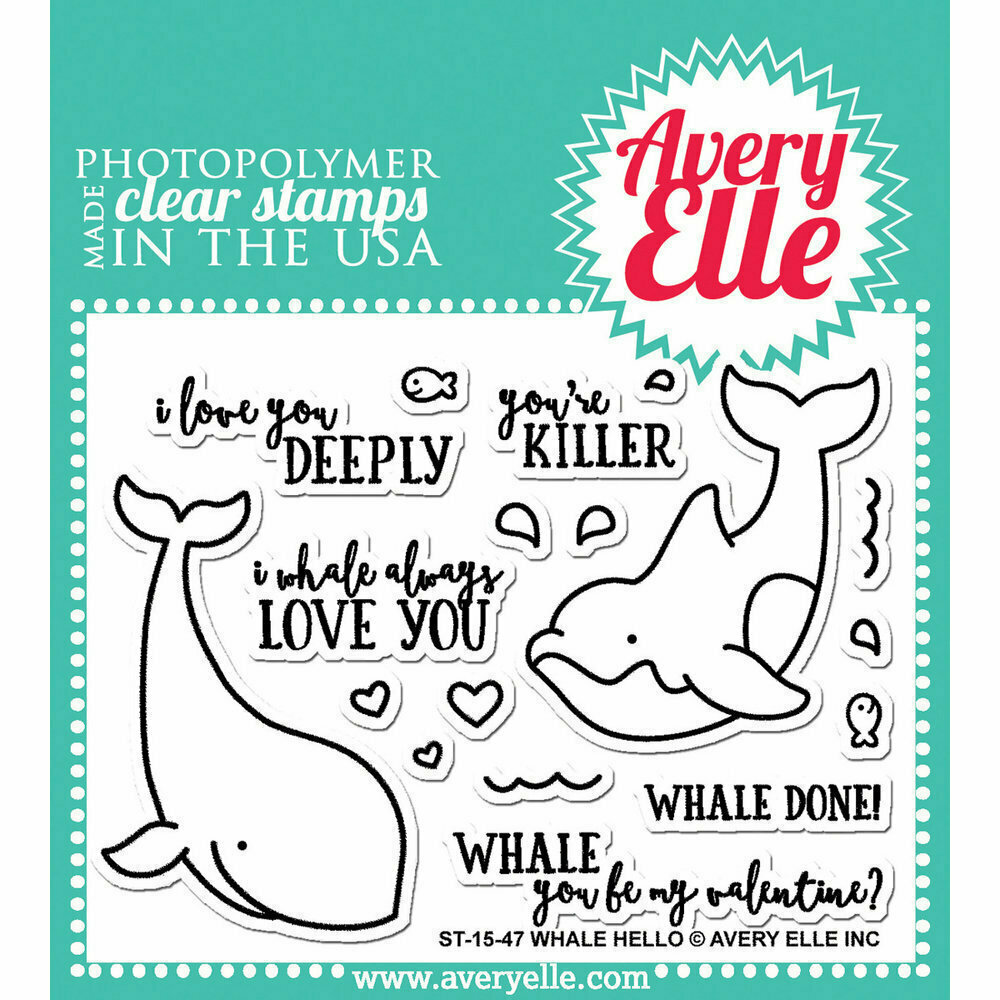 Avery Elle WHALE HELLO Clear Stamp Set