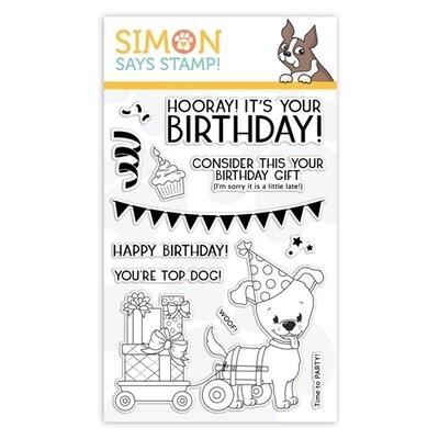Simon Says Stamp TOP DOG BIRTHDAY Clear Stamp Set