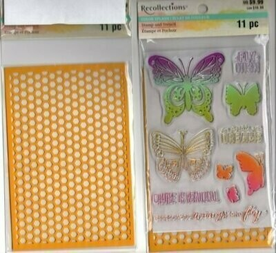 Recollections SPREAD YOUR WINGS AND FLY Color Splash Stamp and Stencil
