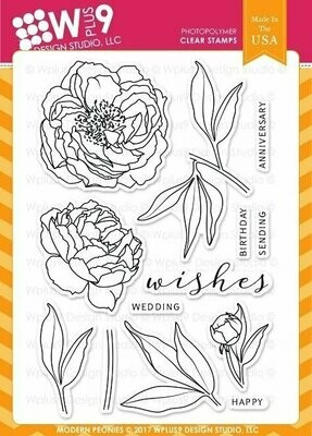 Wplus9 MODERN PEONIES Clear Stamp Set