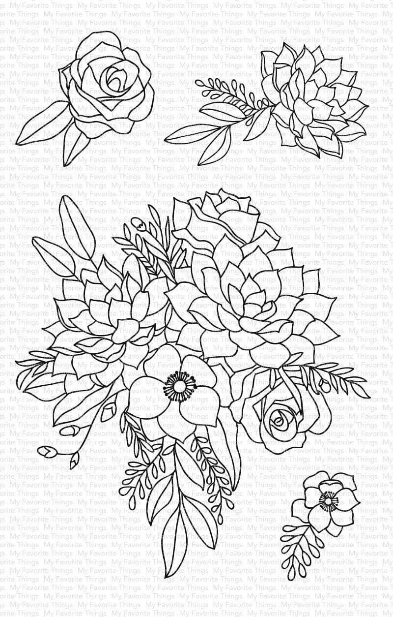 My Favorite Things FANTASY FLORALS Clear Stamp Set