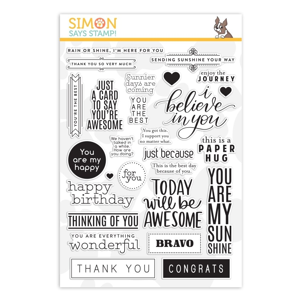 Simon Says Stamp GREETINGS MIX 1 Clear Stamp Set