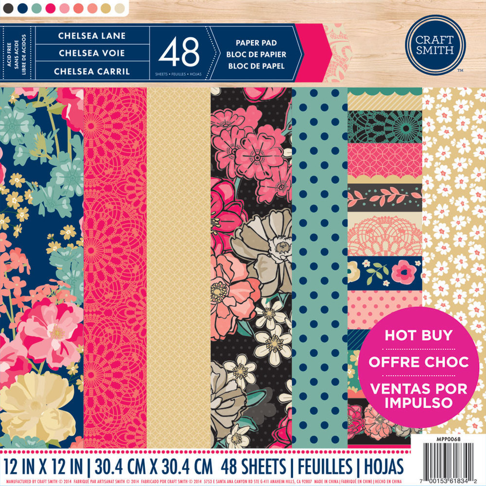 Craft Smith CHELSEA LANE Specialty Pattern Paper Pad 12x12
