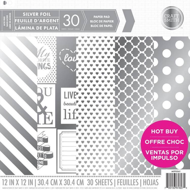 Craft Smith SILVER FOIL Specialty Pattern Paper Pad 12x12
