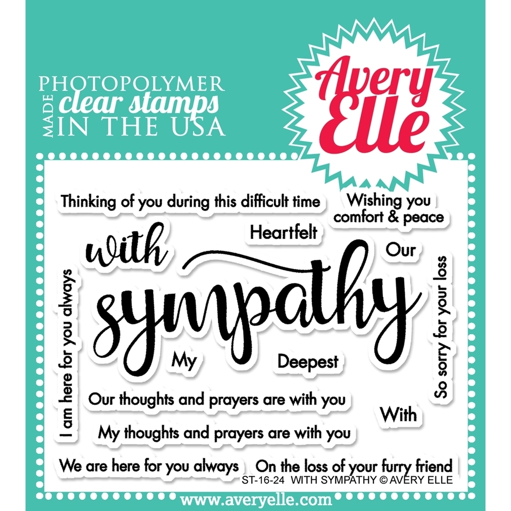 Avery Elle WITH SYMPATHY Clear Stamp Set