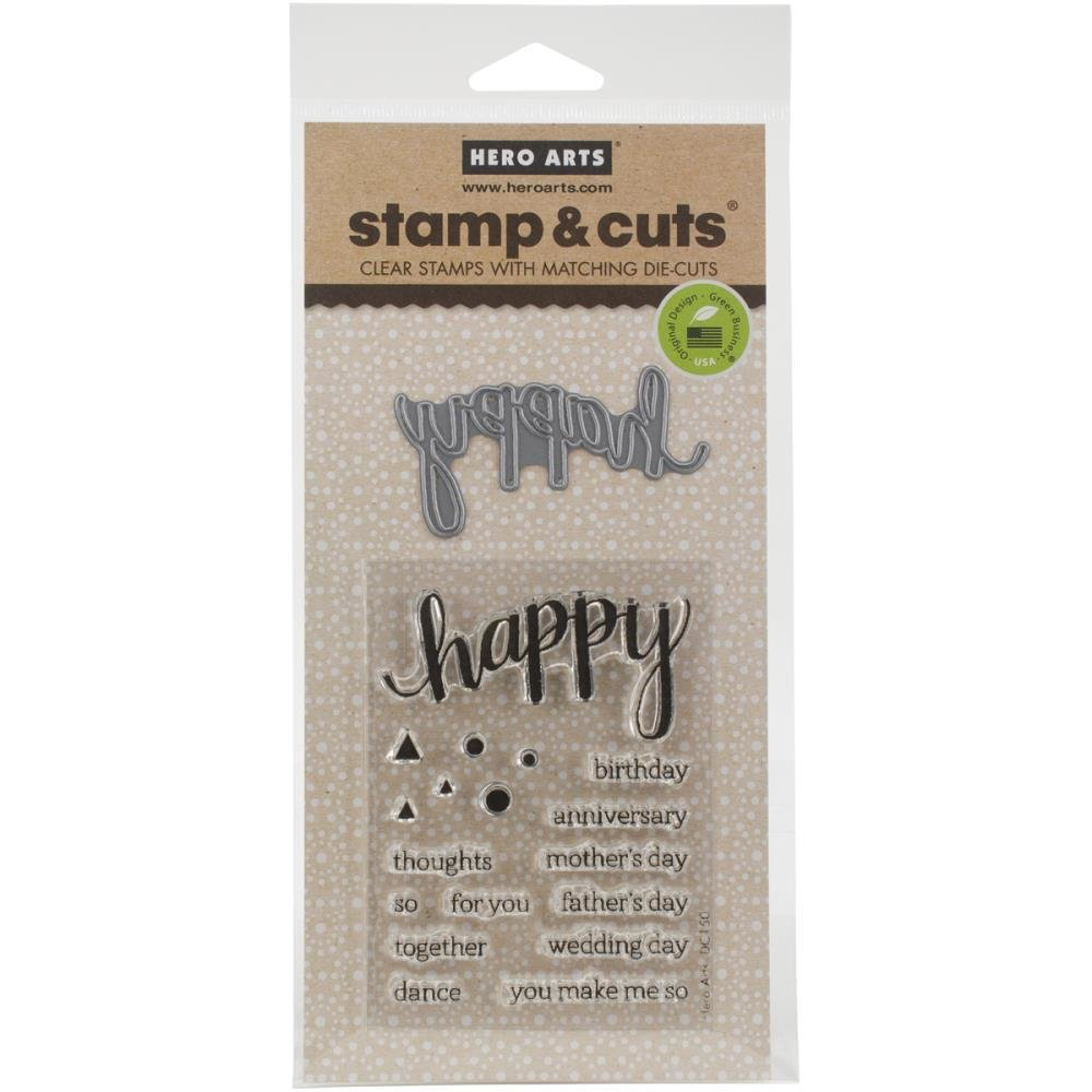 Hero Arts Stamp & Cuts HAPPY Stamp & Die Set