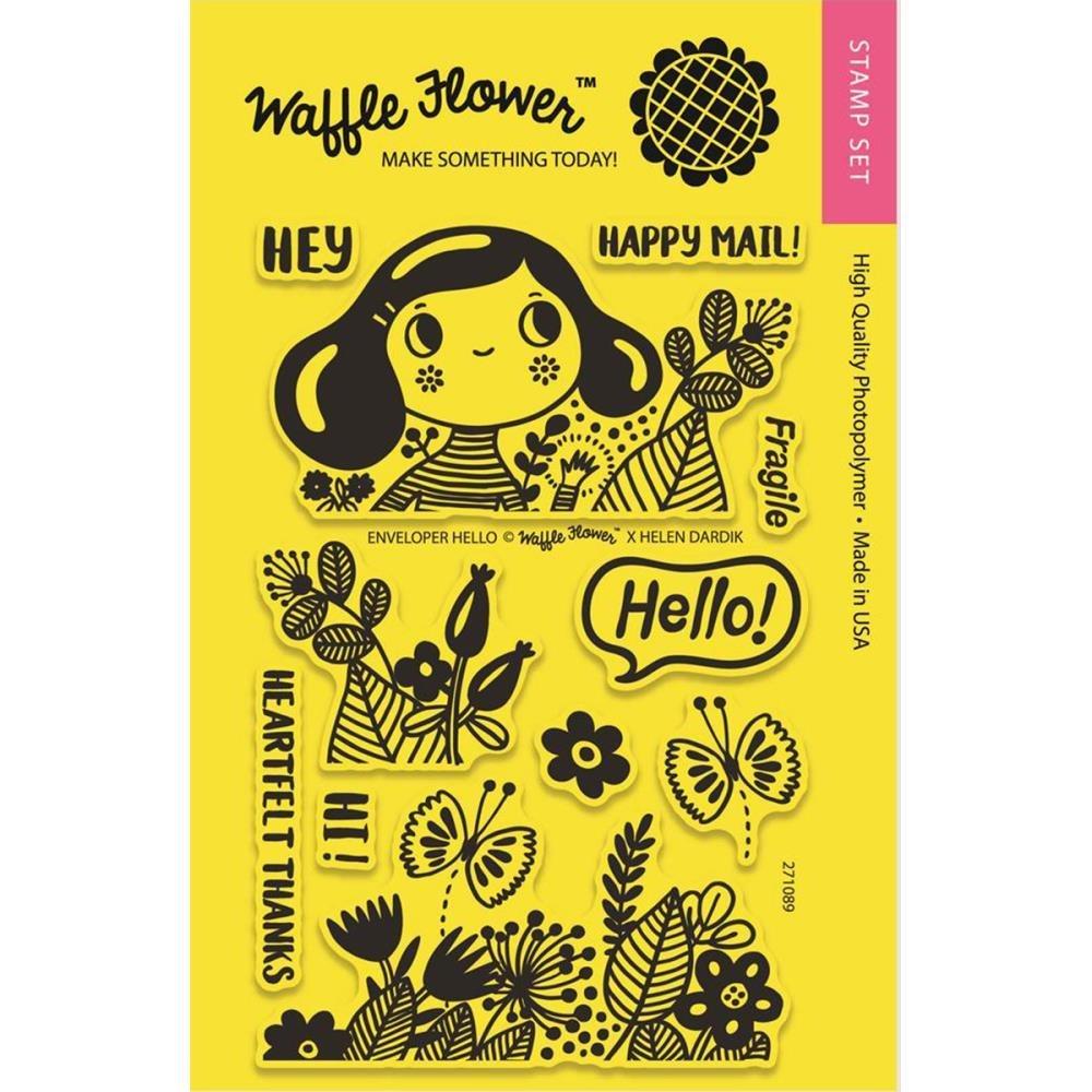 Waffle Flower ENVELOPER HELLO Clear Stamp Set