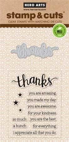 Hero Arts Stamp & Cuts THANKS Stamp & Die Set