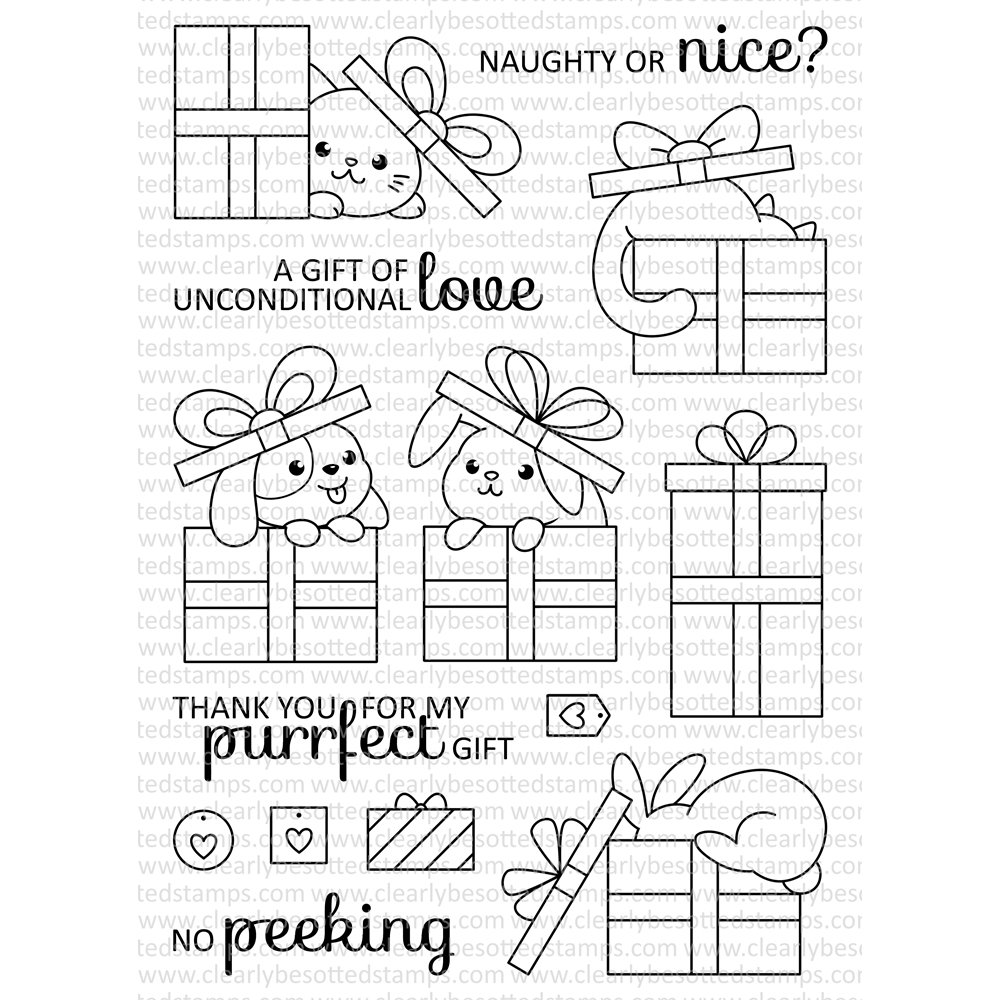 Clearly Besotted GORGEOUS GIFTS Clear Stamp Set
