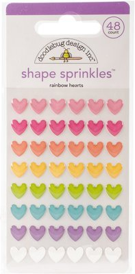 Doodlebug FAIRY TALES RAINBOW HEARTS Sprinkles Self Adhesive Enamel Shapes
