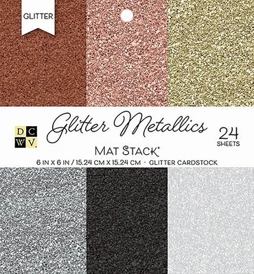 DCWV GLITTER METALLICS SOLID Cardstock 6x6  Paper Stack