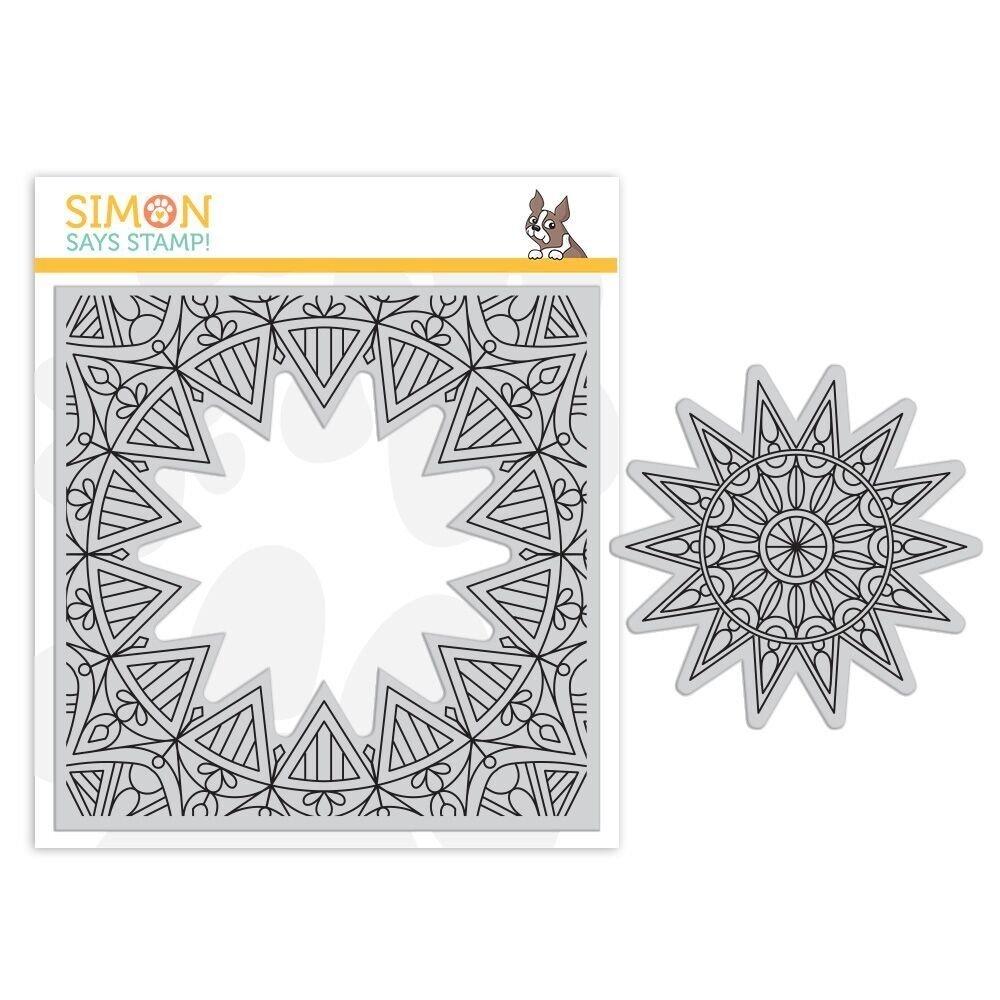 Simon Says Stamp CENTER CUT BURST Background Cling Stamp Set