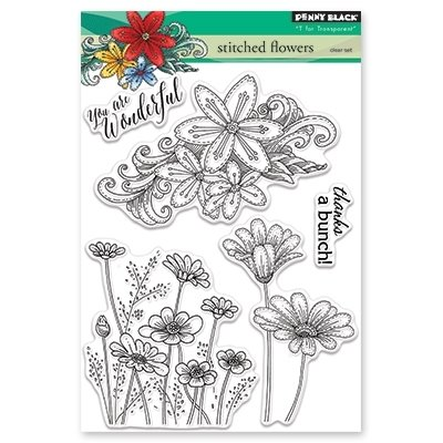 Penny Black STITCHED FLOWERS Clear Stamp