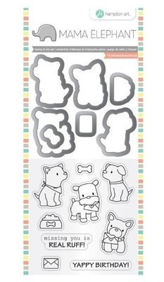 Hampton Art PUPPY PLAY Mama Elephant Clear Stamp & Die