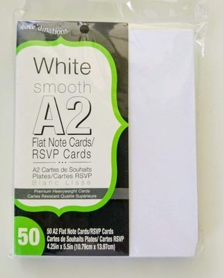 Darice WHITE SMOOTH A2 Heavyweight Flat Card Panels- 50/pk