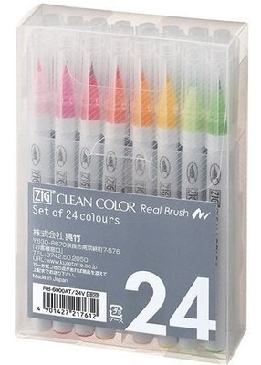 Zig Clean Color Real Brush Markers 24/Pkg