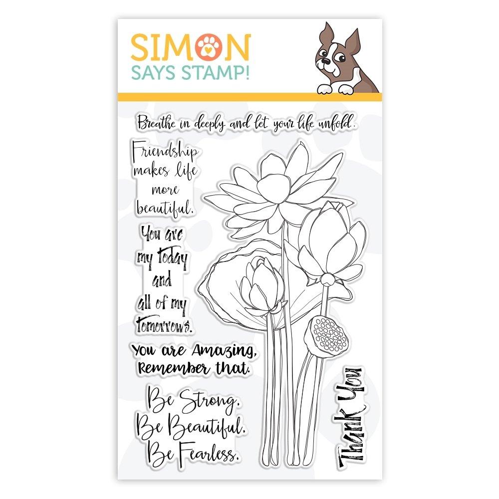 Simon Says Stamp SKETCH LOTUS FLOWERS Clear Stamp Set