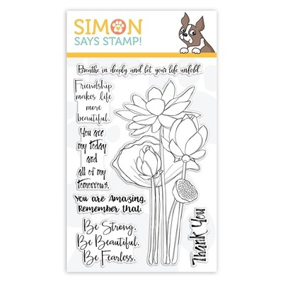 Simon Says Stamp SKETCH LOTUS FLOWERS Clear Stamp Set