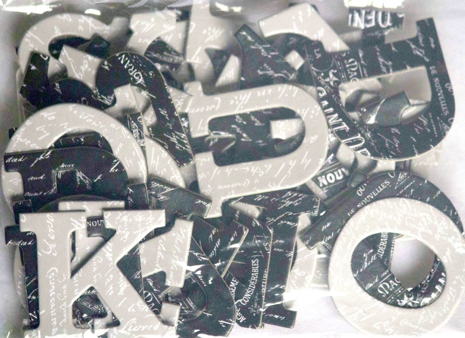 Printed Letters BLACK & GREY Chipboard Letters