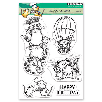 Penny Black HAPPY CRITTERS Clear Stamp Set