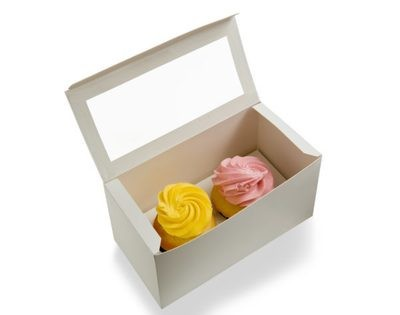 TWO CUPCAKE / BAKERY BOX WITH WINDOW