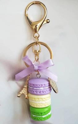 Purple, Yellow, & Green Macaron Keychain