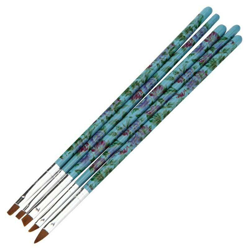 5 Piece Floral Brush Set - Blue