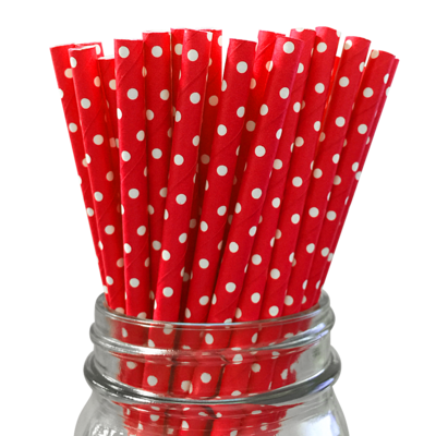 Paper Straws- Red with White Polka Dots