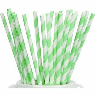 Striped Paper Straws- Mint Green