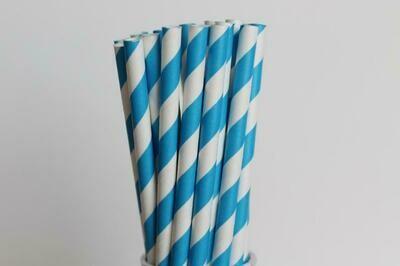 Striped Paper Straws- Bright Blue