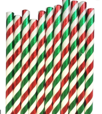 Striped Paper Straws - Red & Green Foil
