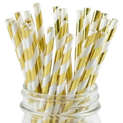 Striped Paper Straws - Gold