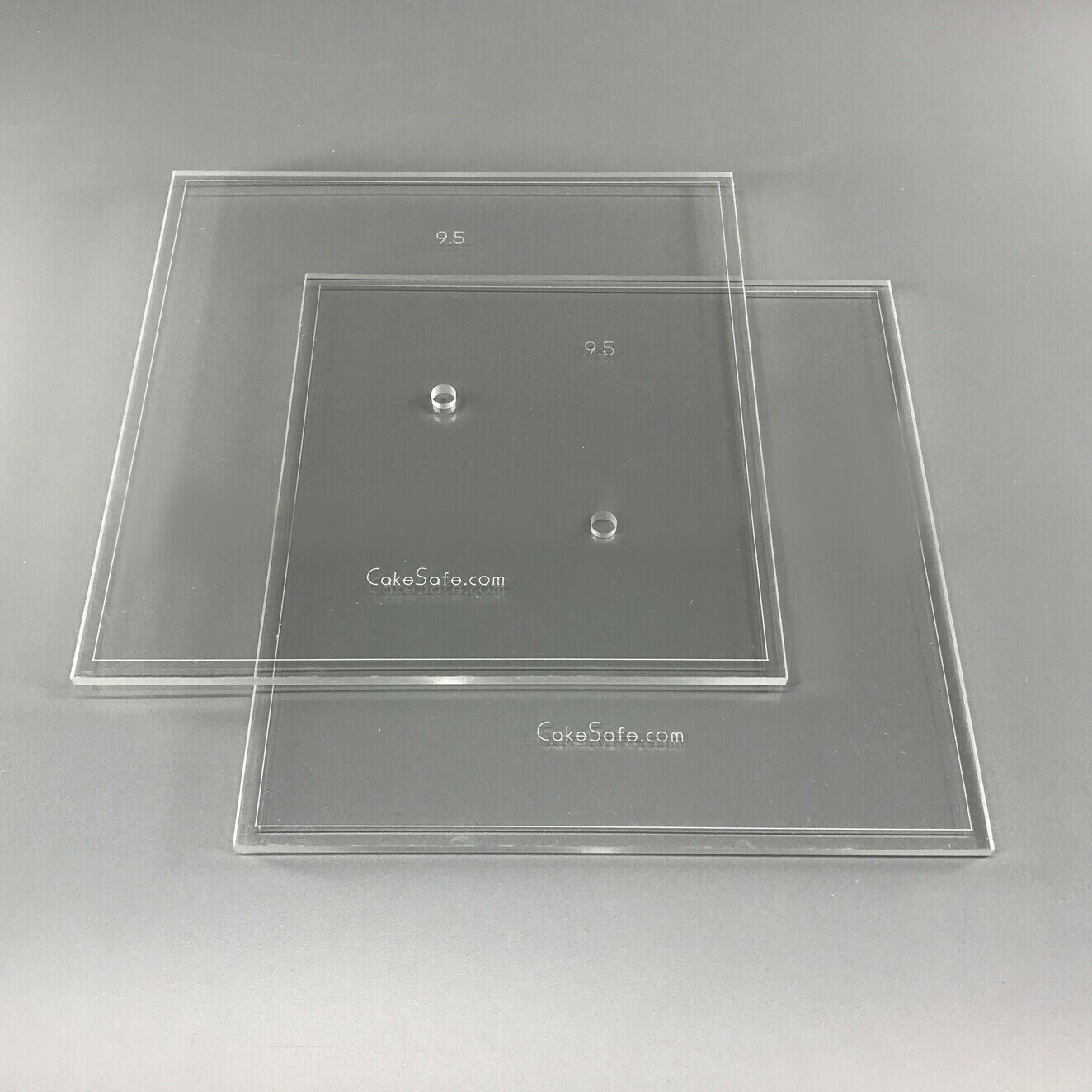 """6"""" Square 0.5"""" Acrylic Cake Disk with Center Hole - 2 Discs"""