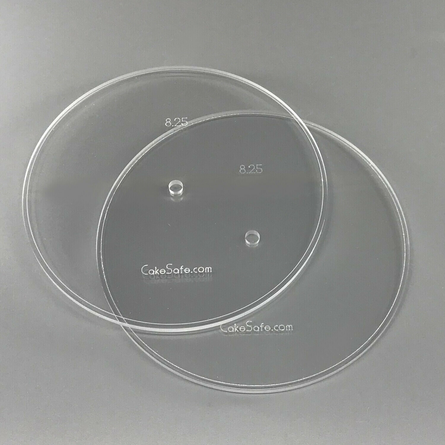 "5"" Round 0.25"" Acrylic Cake Disk with Center Hole - 2 Discs"