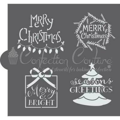 Christmas Greetings Word Cookie Stencil