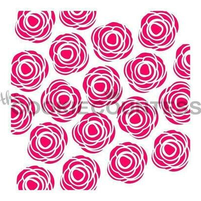 Scribble Roses Cookie Stencil by Cookie Countess
