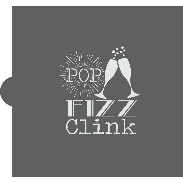 Pop, Fizz, Clink Cookie Stencil