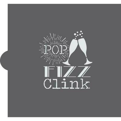 Pop, Fizz, Clink Cookie Stencil