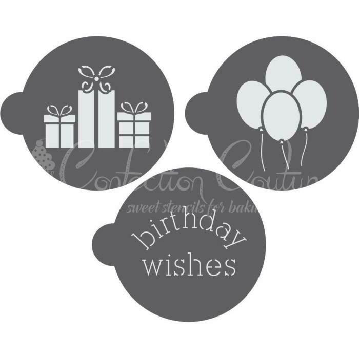 Birthday Wishes Cookie Stencil 3 Pc Set