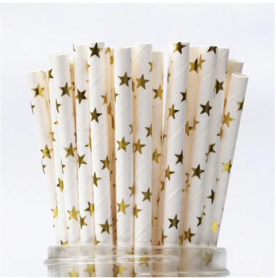 Paper Straws - White with Gold Stars