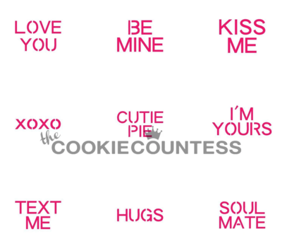 Conversation Hearts Valentine's Day Stencil