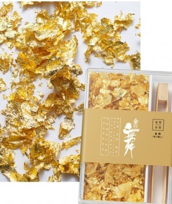 Edible Gold Leaf Flakes with Bamboo Tweezers