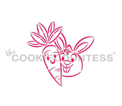 Carrot and Bunny Buddies Stencil