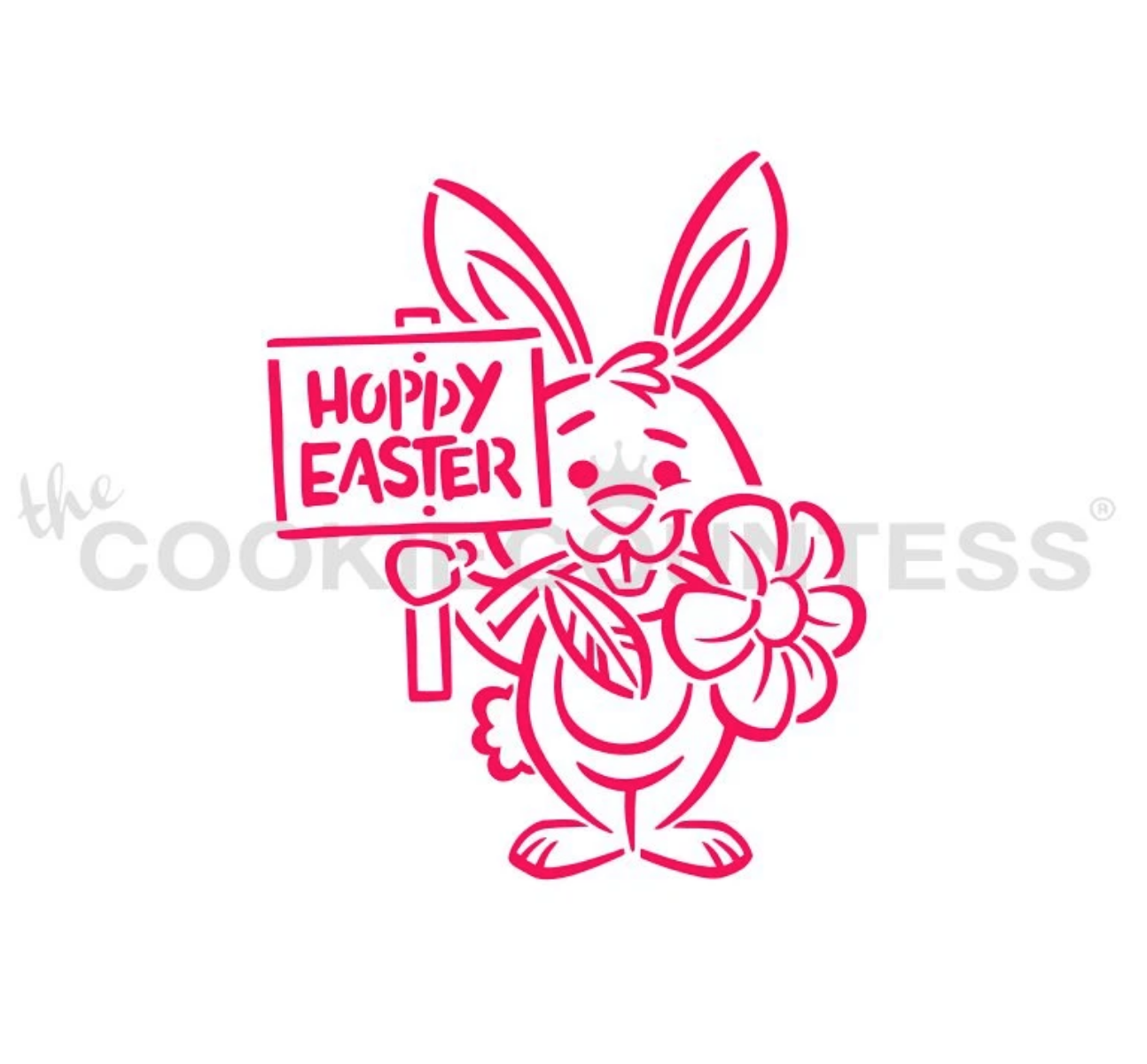 Bunny With A Sign PYO Stencil - By Cookie Countess