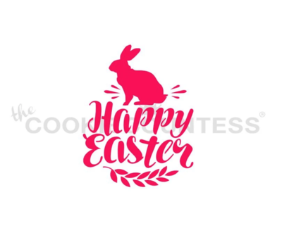 Happy Easter with Bunny Stencil by Cookie Countess