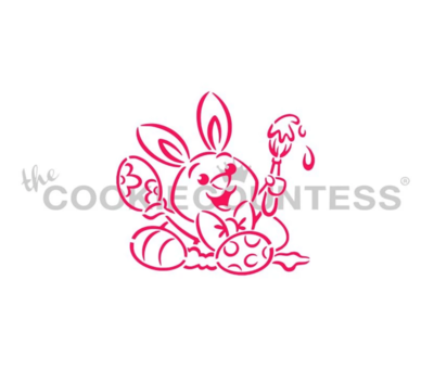 Bunny Painting Eggs Stencil by Cookie Countess