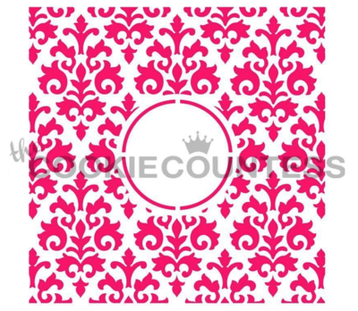Countess Damask Monogram Stencil by Cookie Countess