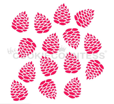 Pinecone Stencil by Cookie Countess