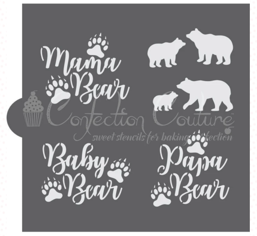 Bear Family Cookie Stencil